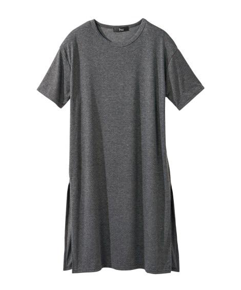 サイドスリットロングTシャツ (大きいサイズレディース)Tシ...
