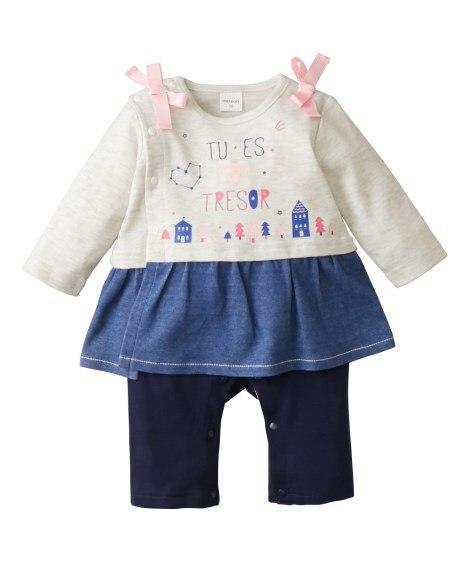 スカート付きスムース長袖カバーオール(女の子 子供服。ベビー...