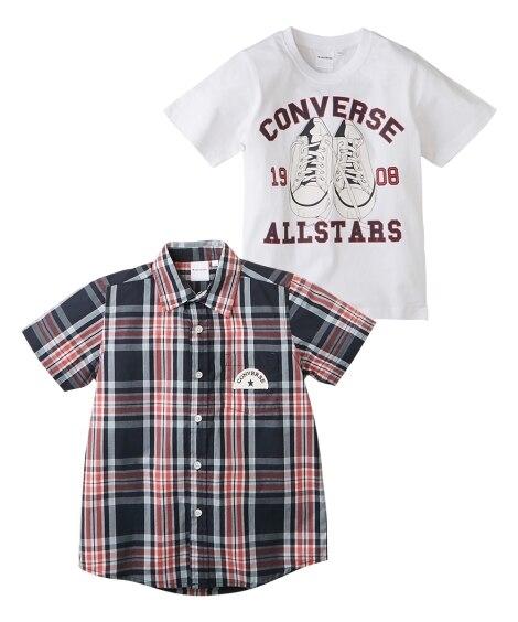 【コンバース】トップス2点セット(半袖シャツ+半袖Tシャツ)...