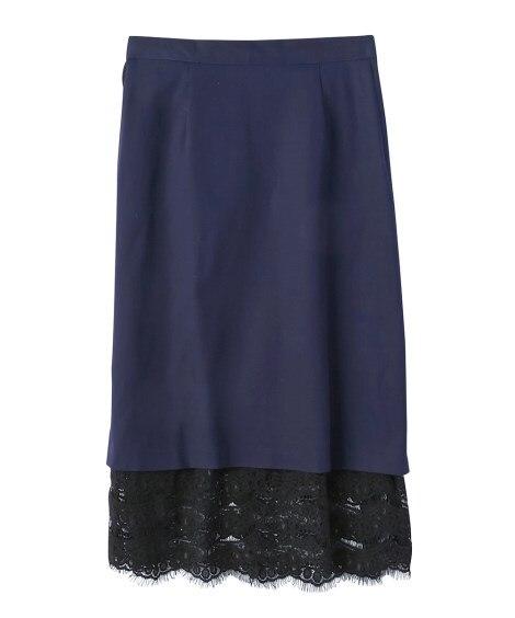 裾レースIラインシルエットスカート(ゆったりヒップ)(ヴェー...