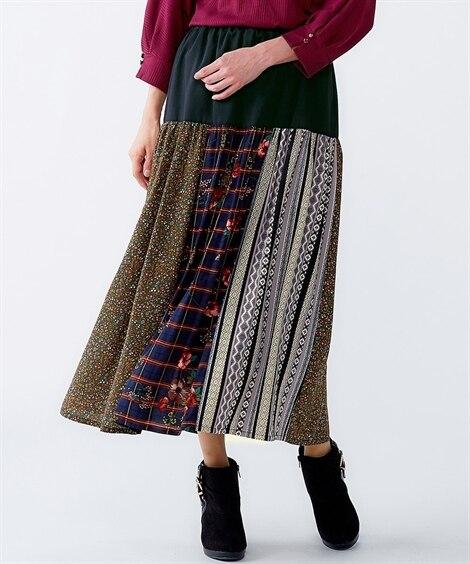 パッチワークロングスカート (大きいサイズレディース)スカー...