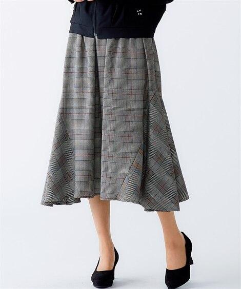 チェック柄ロングスカート (大きいサイズレディース)スカート...
