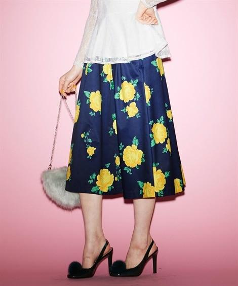 花柄フレアスカート (大きいサイズレディース)スカート,pl...