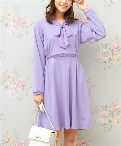 リボン衿カットソーワンピース(MIIA) (大きいサイズレデ...