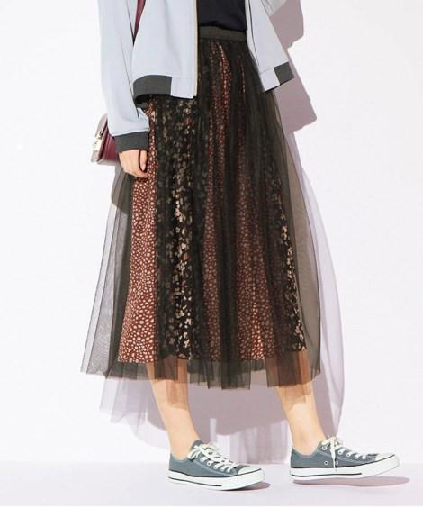 レオパード柄チュールスカート (大きいサイズレディース)スカ...
