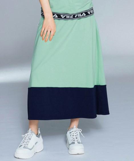UVカット配色スウェットロングスカート(FILA) (大きい...
