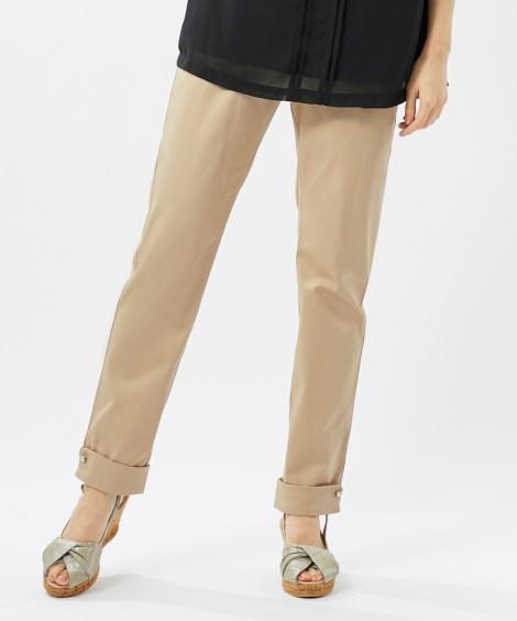 綿混裾ビジューデザインのびるクロップドパンツ(アリスバーリー...