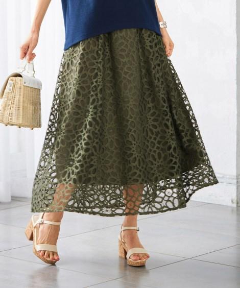 「2020年9月新着!<ニッセン>【大きいサイズ】 華やぎレースロング丈スカート(オトナスマイル) スカート plus size skirts」