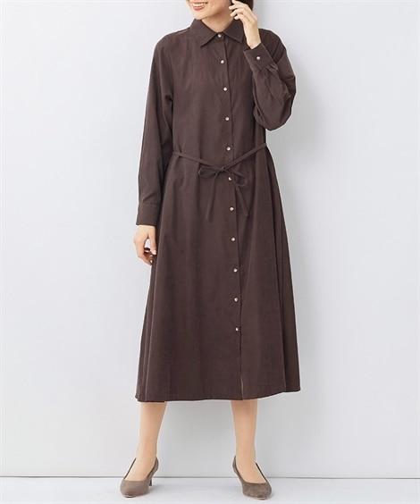 大きいサイズ 2WAYピーチ起毛ロングシャツワンピース(fifth) ,スマイルランド, ワンピース, plus size dress