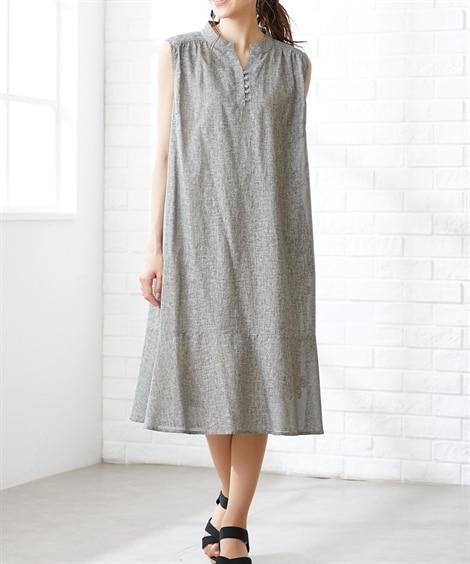 大きいサイズ 綿麻ノースリーブペプラムミディ丈ワンピース(OtonaSMILE) ,スマイルランド, ワンピース, plus size dress