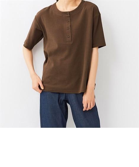 大きいサイズ 綿100%サーフニット裾ラウンド5分袖ヘンリーネックプルオーバー(抗菌防臭) ,スマイルランド, plus size T-shirts,