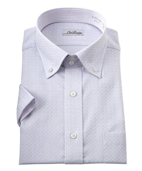 消臭芯地使用別生地配色デザイン形態安定半袖ワイシャツ(ボタン...