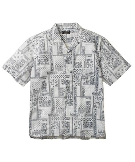 バンダナ総柄プリントワンナップカラー半袖シャツ 大きいサイズ...