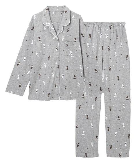 【WEB限定】綿混やわらかスムースネコ柄前開き長袖シャツパジャマ(L) (パジャマ・ルームウェア)Pajamas