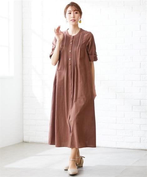 大きいサイズ 綿レーヨンピンタックデザインロングワンピース(OtonaSMILE) ,スマイルランド, ワンピース, plus size dress