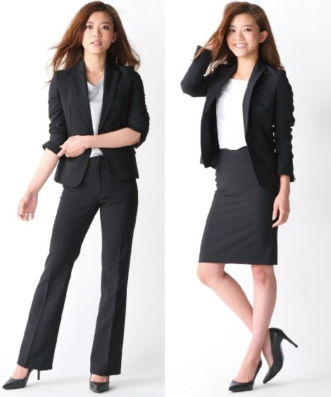 【レディーススーツ】テーラードジャケット2ボトムスーツ(ジャケット+ブーツカットパンツ+タイトスカート)(パンツ股下77cm) レディーススーツ, women's suits,  plus size women's suits