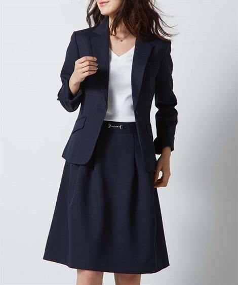 洗える変り織スカートスーツ(テーラードジャケット+タックフレ...