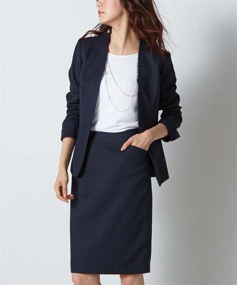 洗える変り織スカートスーツ(ノーカラーVラインジャケット+タ...