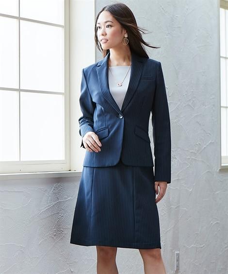 新改良◎洗える定番セミフレアスカートスーツ (大きいサイズレ...