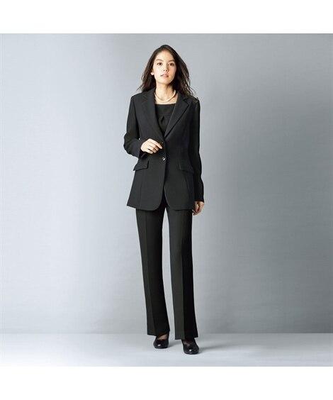 <ニッセン>【喪服】 ストレッチパンツ3点セット(ジャケット+ブラウス+ソフトブーツカットパンツ) 喪服・ブラックフォーマル(礼服)