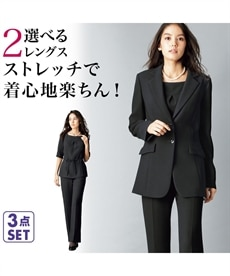 <ニッセン> ストレッチパンツ3点セット(ジャケット+ブラウス+ソフトブーツカットパンツ) 喪服・ブラックフォーマル(礼服) 1