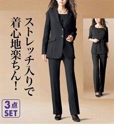 <ニッセン> ストレッチパンツ3点セット(ジャケット+ブラウス+ソフトブーツカットパンツ) 喪服・ブラックフォーマル(礼服) 6