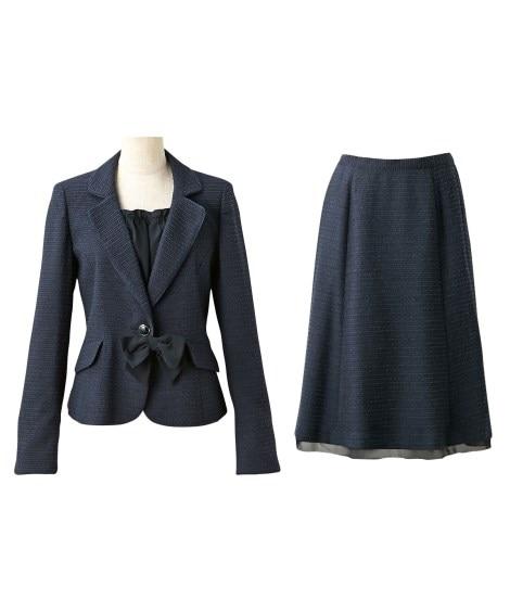 小さいサイズ ラメ入変り織スーツ(ジャケット+スカート)(胸...