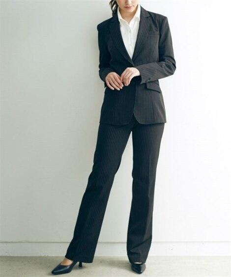 トールサイズ すごく伸びるロング丈ジャケットスーツ(股下86...