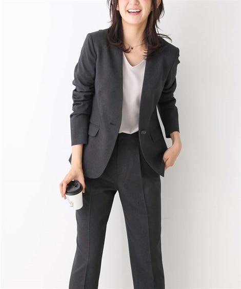 洗えるすごく伸びるノーカラー9分丈パンツスーツ (大きいサイ...
