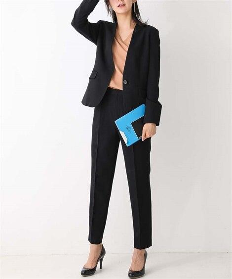 洗えるすごく伸びるノーカラー9分丈パンツスーツ