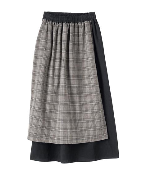 綿混デザインロング丈スカート(オトナスマイル) (大きいサイ...