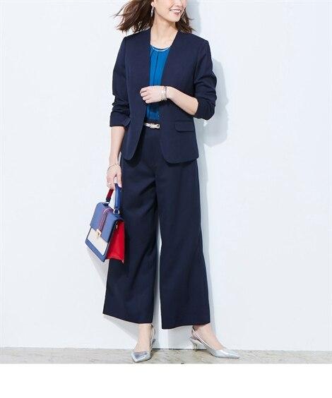 快適機能付き洗える2WAYストレッチワイドパンツスーツ (大...