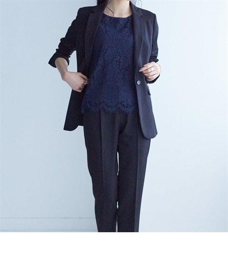 洗えてすごく伸びるウール調ロング丈ジャケットパンツスーツ (...