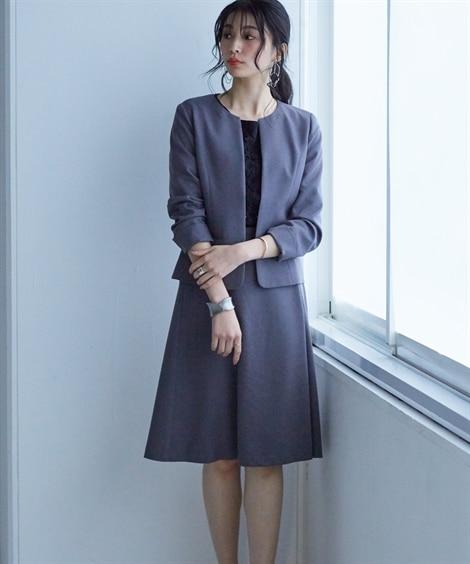 洗えてすごく伸びるウール調キーネックジャケットラップ風セミフレアスカートスーツ【レディーススーツ】 (レディース)スーツ, women's suits,  plus size women's suits