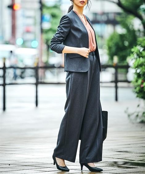 あったか裏地付◎洗えるすごく伸びるノーカラーセミワイドパンツスーツ(ストレッチ蓄熱裏地付)【レディーススーツ】 (レディース)スーツ, women's suits,  plus size women's suits