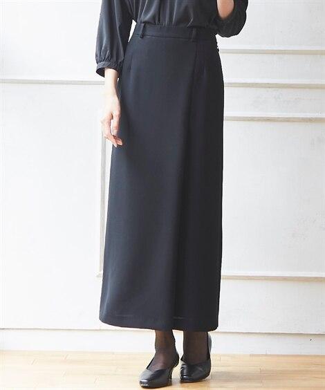 洗えるストレッチラップ風ロング丈スカート(上下別売りスーツ) (ブラックフォーマル)funeral outfit, plus size funeral outfit