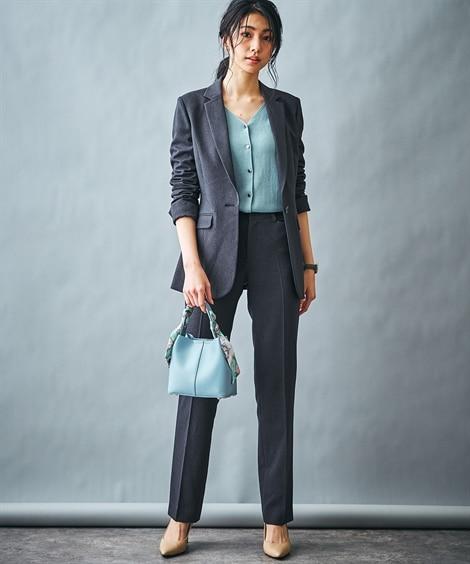 あったか裏地付◎洗えるすごく伸びるロング丈ジャケットパンツスーツ(ストレッチ蓄熱裏地付)【レディーススーツ】 (レディース)スーツ, women's suits,  plus size women's suits