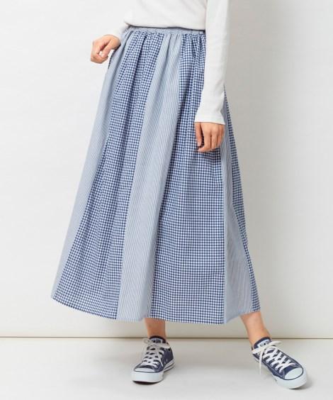 切替ロングスカート (大きいサイズレディース)スカート, p...