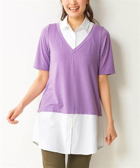 【大きいサイズ】 5分袖シャツ重ね着風カットソーチュニック ...