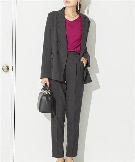 洗える梳毛ウール調ダブルブレストパンツスーツ(テーラードジャケット+9分丈テーパードパンツ)【レディーススーツ】 (レディース)スーツ, women's suits,  plus size women's suits