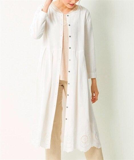 大きいサイズ 裾スカラップレースガウンロングカーディガン ,スマイルランド, plus size shirts,