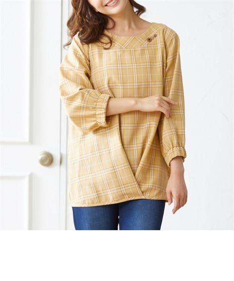 大きいサイズ 7分袖裾タックコクーンチュニックブラウス(オトナスマイル) ,スマイルランド, plus size tops,