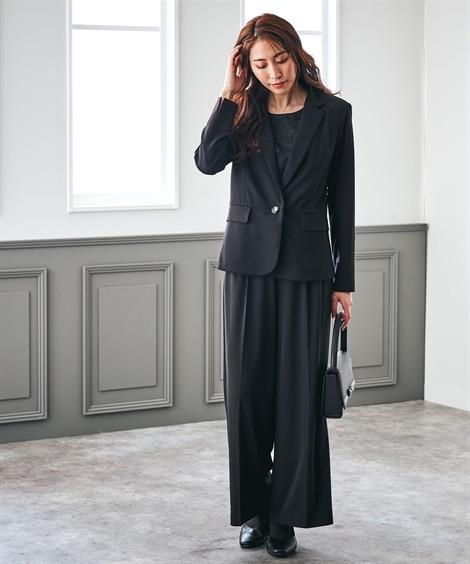 【着心地楽々ジャージー】洗えるレースブラウス付パンツスーツ3点セット【喪服。礼服】<大きいサイズ有> (ブラックフォーマル)Funeral Outfit