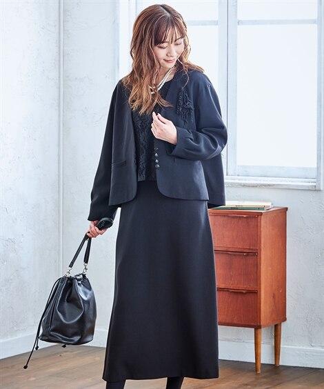 【ナチュラルさんの礼服】レース使いワンピースアンサンブル<大きいサイズ有> (ブラックフォーマル)funeral outfit, plus size funeral outfit