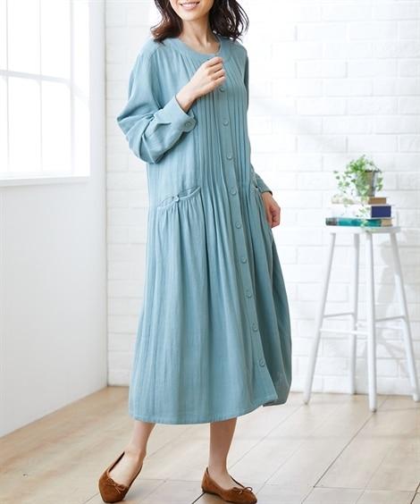 【大きいサイズ】 レーヨン麻ピンタックガウンワンピース(オトナスマイル) ワンピース, plus size dress