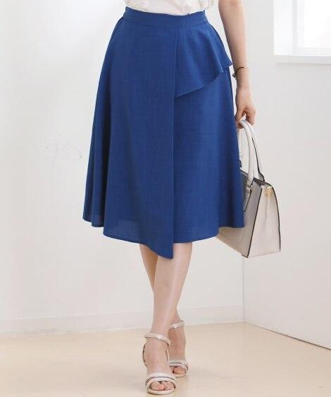 麻調合繊前フリルデザインフレアスカート (ひざ丈スカート),...
