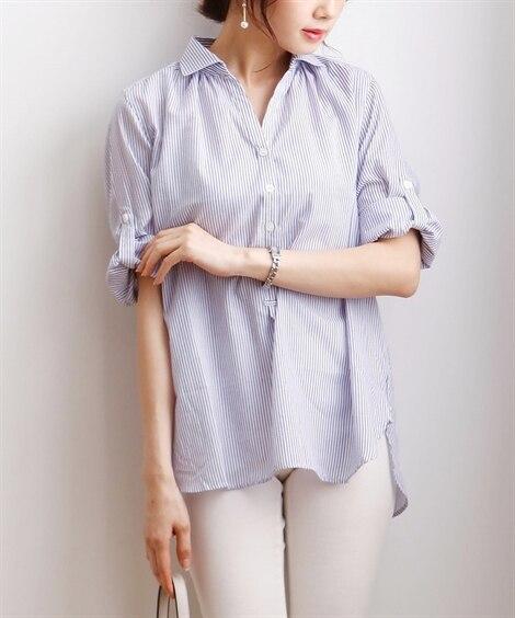 ストライプ柄スキッパーチュニックシャツ(7分袖) (ブラウス...
