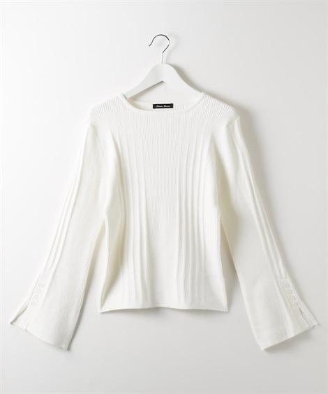 ランダムリブ 袖ボタンニットプルオーバー (ニット・セーター)(レディース)Knitting, Sweater,