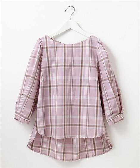 パール調ビジュー付タック袖7分袖ブラウス (ブラウス)Blouses, Shirts,