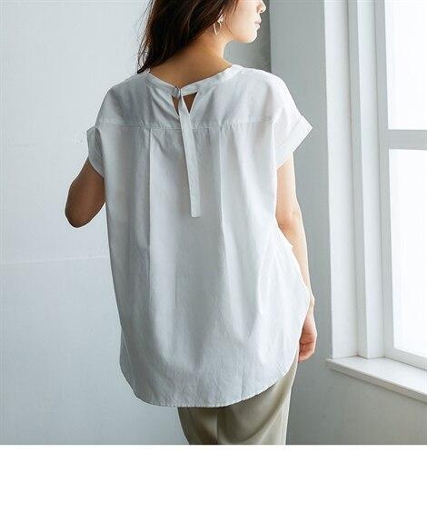 [接触冷感。UVカット]後ろDカンシャツ (ブラウス),Bl...